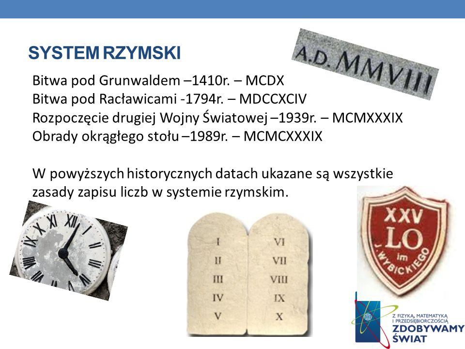 Bitwa pod Grunwaldem –1410r. – MCDX Bitwa pod Racławicami -1794r. – MDCCXCIV Rozpoczęcie drugiej Wojny Światowej –1939r. – MCMXXXIX Obrady okrągłego s