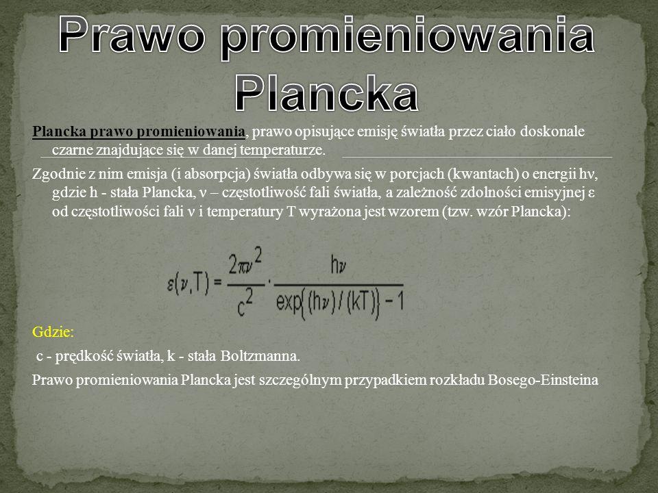 Plancka prawo promieniowania, prawo opisujące emisję światła przez ciało doskonale czarne znajdujące się w danej temperaturze. Zgodnie z nim emisja (i