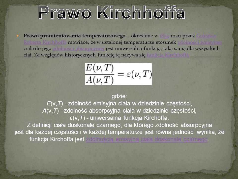 Prawo promieniowania temperaturowego - określone w 1859 roku przez Gustawa Roberta Kirchhoffa mówiące, że w ustalonej temperaturze stosunek zdolności
