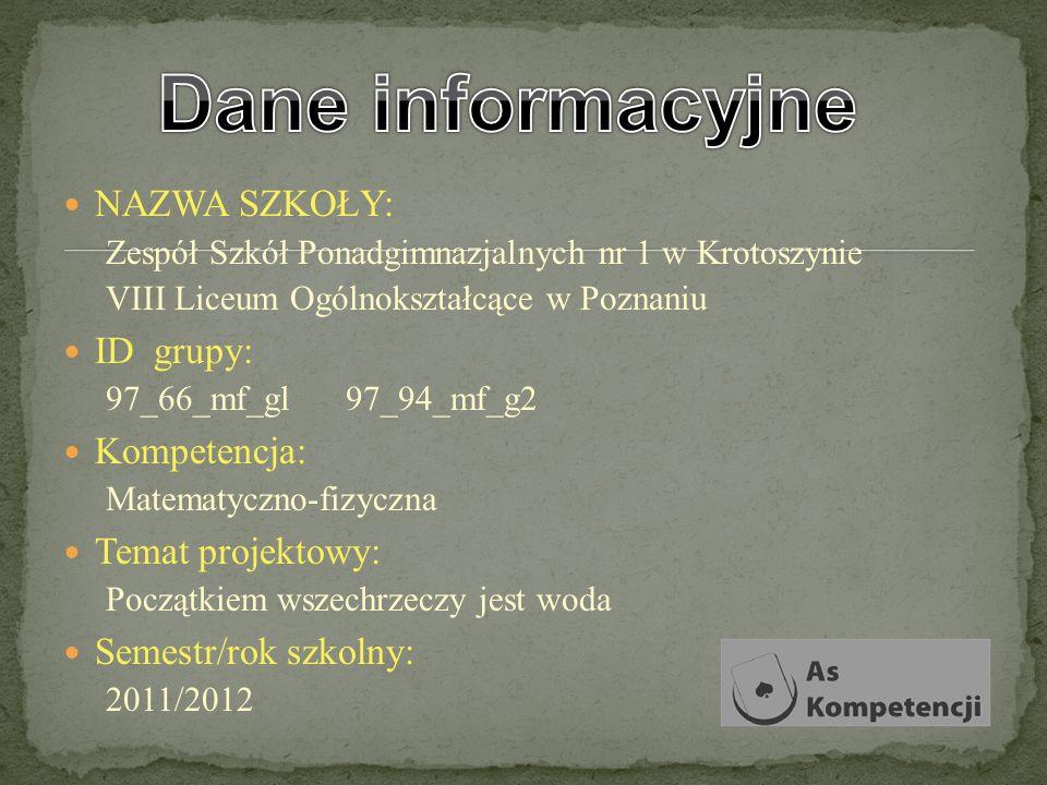 NAZWA SZKOŁY: Zespół Szkół Ponadgimnazjalnych nr 1 w Krotoszynie VIII Liceum Ogólnokształcące w Poznaniu ID grupy: 97_66_mf_gl 97_94_mf_g2 Kompetencja
