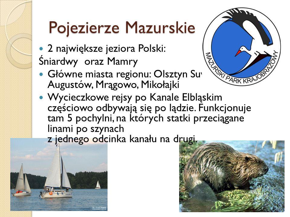 Pojezierze Mazurskie 2 największe jeziora Polski: Śniardwy oraz Mamry Główne miasta regionu: Olsztyn Suwałki, Ełk, Augustów, Mrągowo, Mikołajki Wyciec