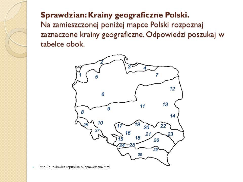 Sprawdzian: Krainy geograficzne Polski. Na zamieszczonej poniżej mapce Polski rozpoznaj zaznaczone krainy geograficzne. Odpowiedzi poszukaj w tabelce