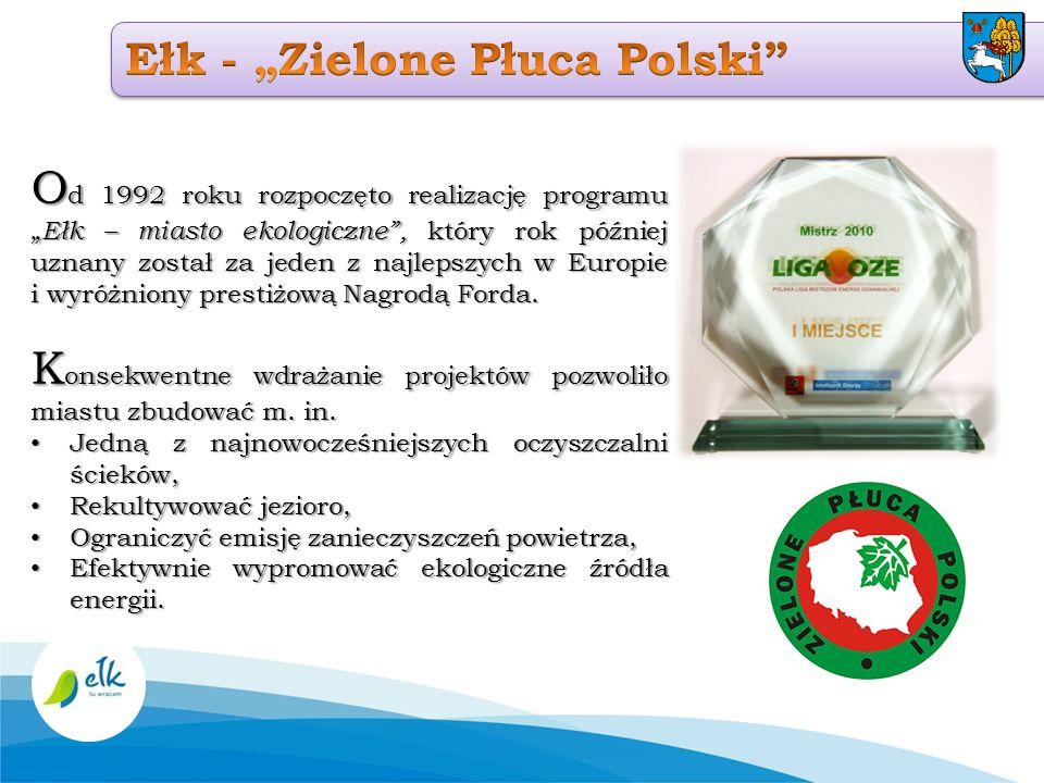 O d 1992 roku rozpoczęto realizację programu Ełk – miasto ekologiczne, który rok później uznany został za jeden z najlepszych w Europie i wyróżniony p
