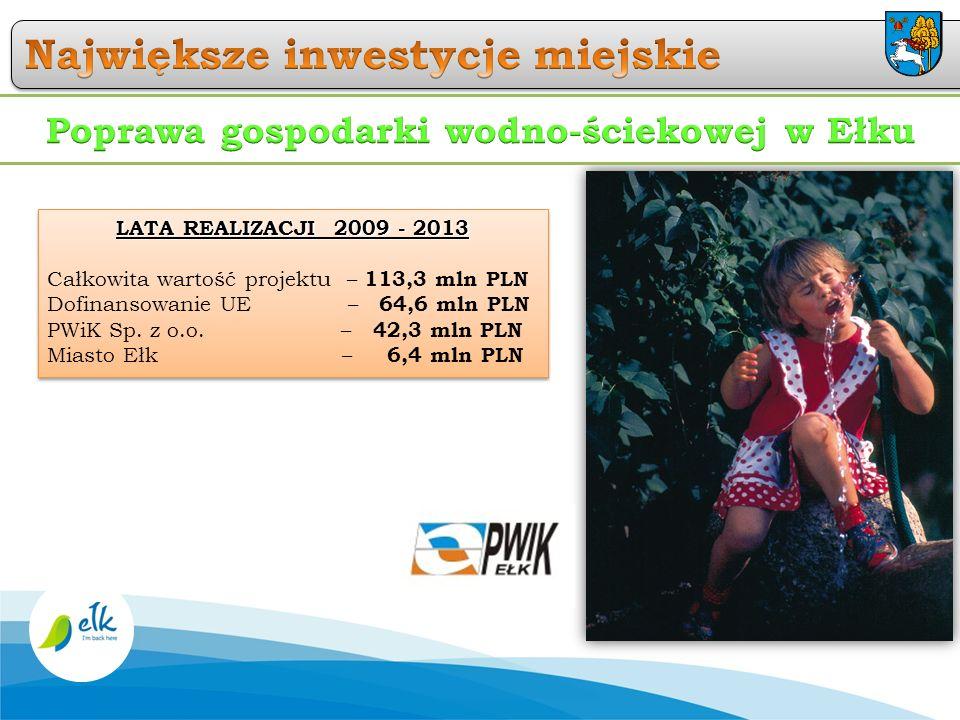 LATA REALIZACJI 2009 - 2013 Całkowita wartość projektu – 113,3 mln PLN Dofinansowanie UE – 64,6 mln PLN PWiK Sp. z o.o. – 42,3 mln PLN Miasto Ełk – 6,