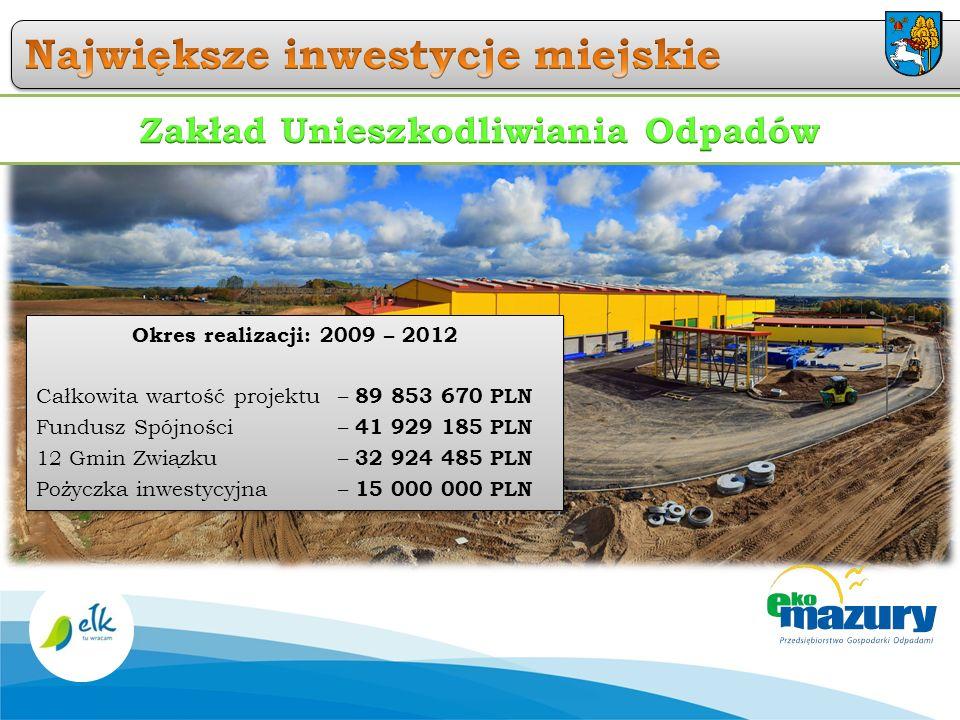 Okres realizacji: 2009 – 2012 Całkowita wartość projektu – 89 853 670 PLN Fundusz Spójności – 41 929 185 PLN 12 Gmin Związku – 32 924 485 PLN Pożyczka