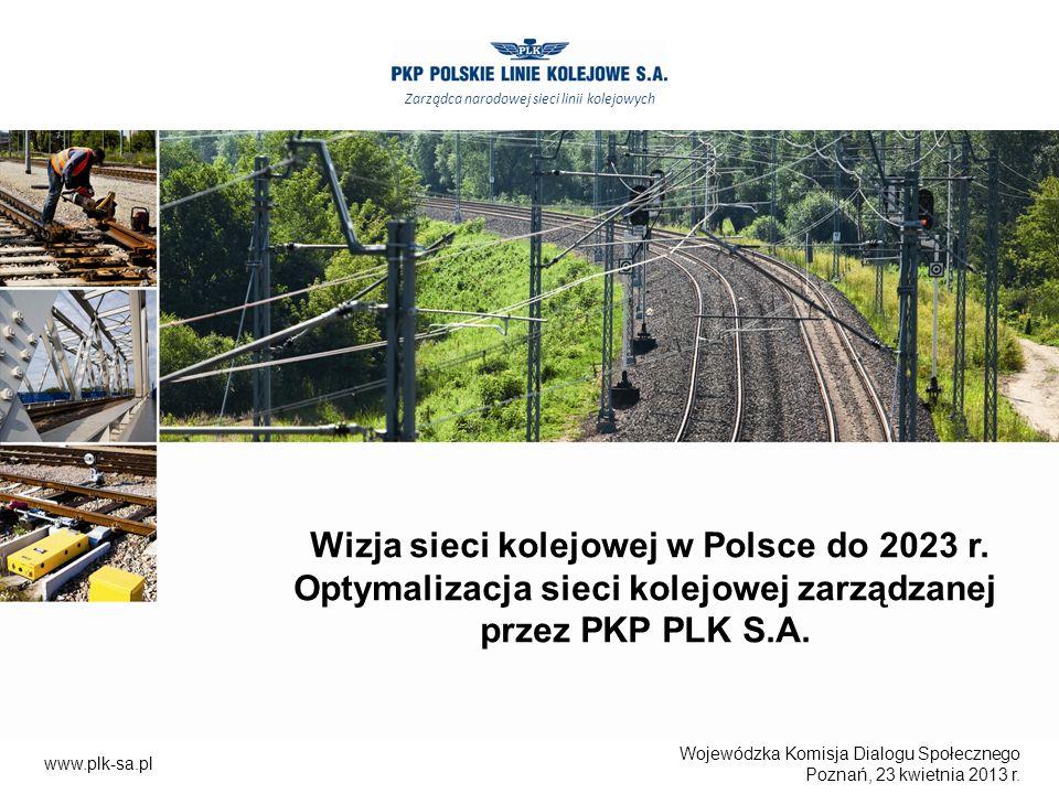 Wojewódzka Komisja Dialogu Społecznego Poznań, 23 kwietnia 2013 r. Wizja sieci kolejowej w Polsce do 2023 r. Optymalizacja sieci kolejowej zarządzanej