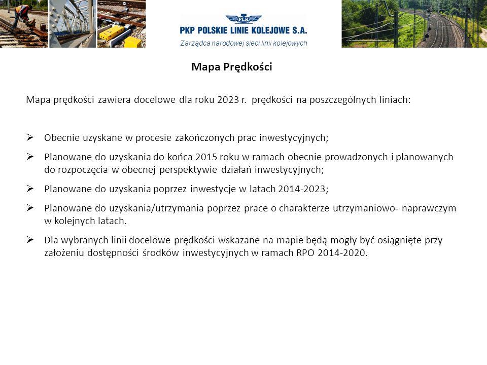 Zarządca narodowej sieci linii kolejowych Mapa Prędkości Mapa prędkości zawiera docelowe dla roku 2023 r.