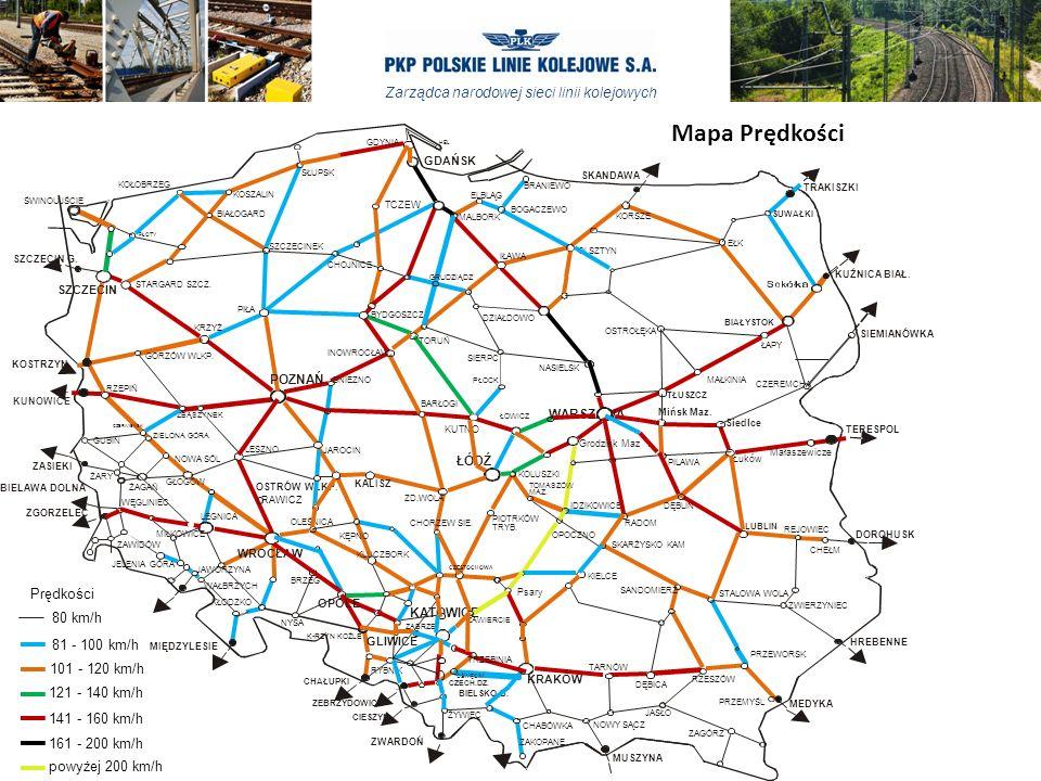 Zarządca narodowej sieci linii kolejowych Mapa Prędkości CHABÓWKA ELBLĄG KORSZE SUWAŁKI MALBORK SKANDAWA BRANIEWO BOGACZEWO TRAKISZKI OSTROŁĘKA MAŁKINIA NASIELSK BIAŁYSTOK CZEREMCHA EŁK SIEMIANÓWKA Małaszewicze Siedlce OLSZTYN ŁAPY TŁUSZCZ TERESPOL KUŹNICA BIAŁ.