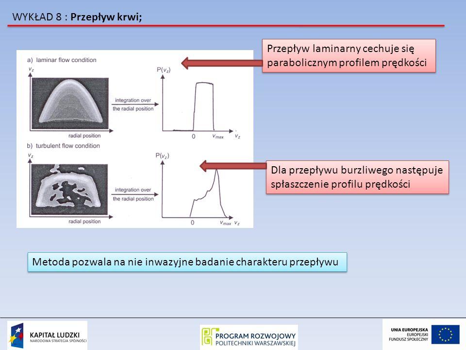 WYKŁAD 8 : Przepływ krwi; Przepływ laminarny cechuje się parabolicznym profilem prędkości Przepływ laminarny cechuje się parabolicznym profilem prędko