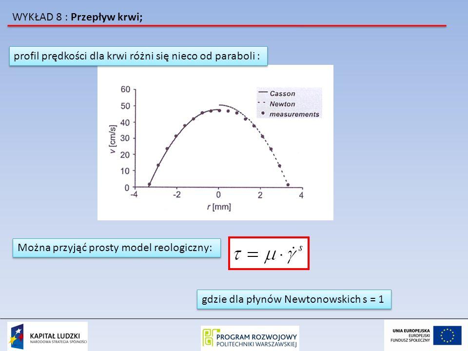 WYKŁAD 8 : Przepływ krwi; profil prędkości dla krwi różni się nieco od paraboli : Można przyjąć prosty model reologiczny: gdzie dla płynów Newtonowski