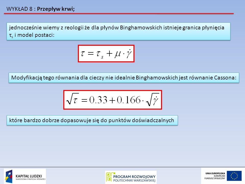 WYKŁAD 8 : Przepływ krwi; jednocześnie wiemy z reologii że dla płynów Binghamowskich istnieje granica płynięcia τ s i model postaci: jednocześnie wiem