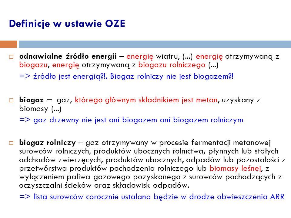 Definicje w ustawie OZE odnawialne źródło energii – energię wiatru, (...) energię otrzymywaną z biogazu, energię otrzymywaną z biogazu rolniczego (...) => źródło jest energią?!.