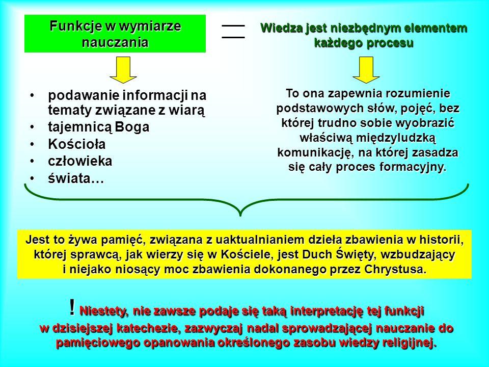 Funkcje w wymiarze nauczania podawanie informacji na tematy związane z wiarąpodawanie informacji na tematy związane z wiarą tajemnicą Bogatajemnicą Bo