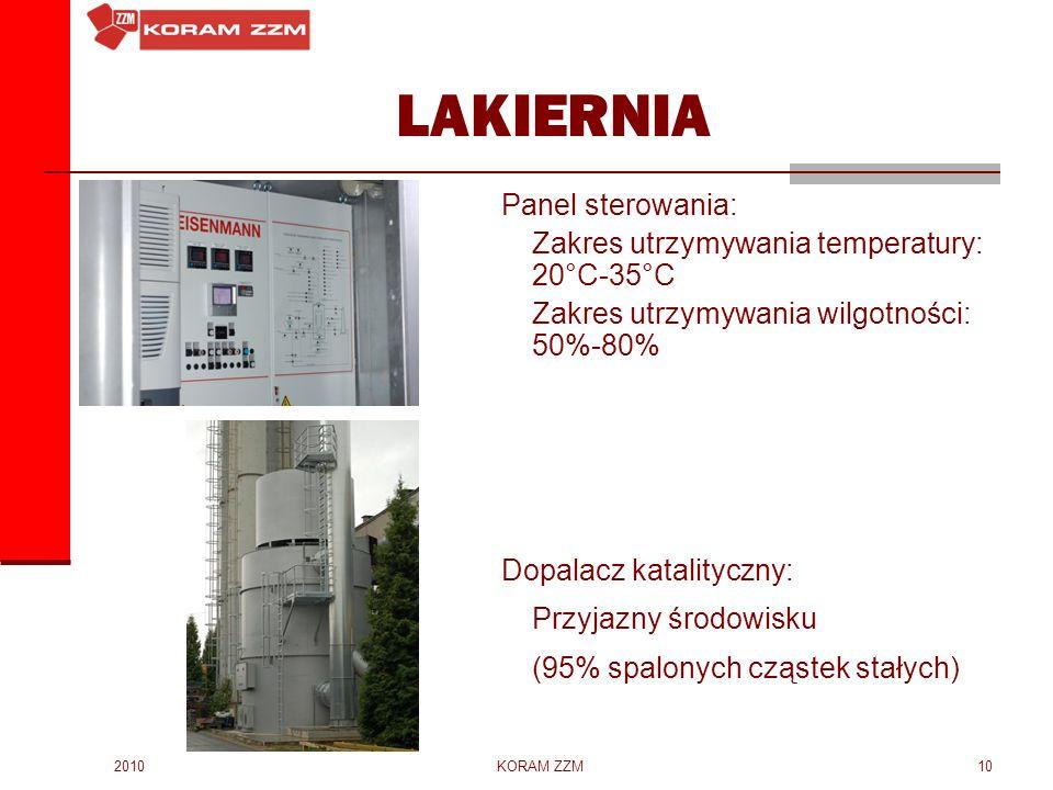 2010KORAM ZZM10 LAKIERNIA Panel sterowania: Zakres utrzymywania temperatury: 20°C-35°C Zakres utrzymywania wilgotności: 50%-80% Dopalacz katalityczny: