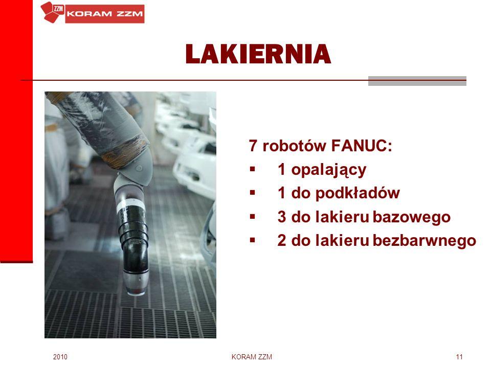 2010KORAM ZZM11 LAKIERNIA 7 robotów FANUC: 1 opalający 1 do podkładów 3 do lakieru bazowego 2 do lakieru bezbarwnego