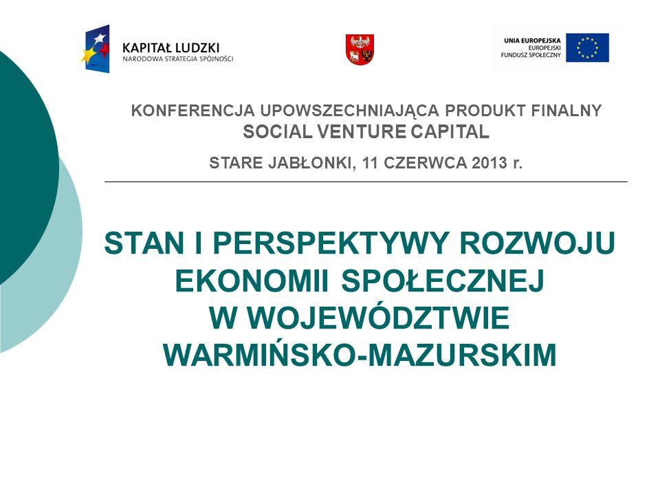 2 Stan ilościowy PES na dzień 31 XII 2012: Podmioty integracji społeczno-zawodowej Centra Integracji Społecznej (6) Kluby Integracji Społecznej (57) Warsztaty Terapii Zajęciowej (35) Przedsiębiorstwa społeczne Zakłady Aktywności Zawodowej (5) Spółdzielnie socjalne (36) Spółdzielnie pracy (20), spółdzielnie inwalidów (10) i niewidomych (1) Organizacje pozarządowe (4.750) Spółki non-profit (5) Podmioty ekonomii społecznej w województwie warmińsko-mazurskim wg REGON