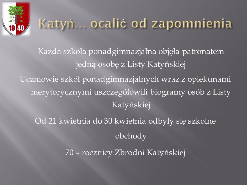 Każda szkoła ponadgimnazjalna objęła patronatem jedną osobę z Listy Katyńskiej Uczniowie szkół ponadgimnazjalnych wraz z opiekunami merytorycznymi usz