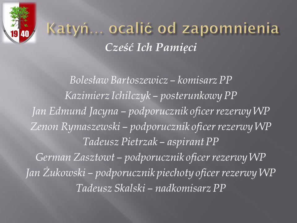 Cześć Ich Pamięci Bolesław Bartoszewicz – komisarz PP Kazimierz Ichilczyk – posterunkowy PP Jan Edmund Jacyna – podporucznik oficer rezerwy WP Zenon R