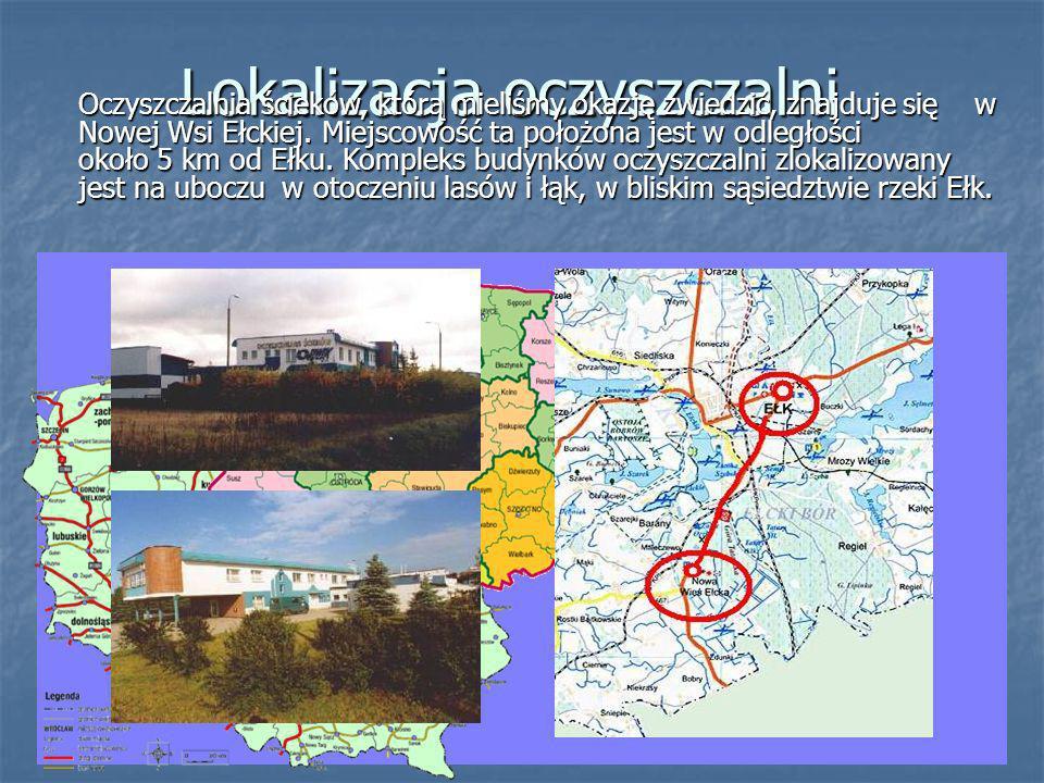 Lokalizacja oczyszczalni Oczyszczalnia ścieków, którą mieliśmy okazję zwiedzić, znajduje się w Nowej Wsi Ełckiej.