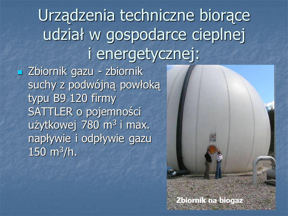 Dane techniczne: Produkcja biogazu średnia dobowa - 2 200 m 3 /d Produkcja biogazu średnia dobowa - 2 200 m 3 /d Wskaźnik zużycia energii elektrycznej na oczyszczenie 1m 3 ścieków: 0,48 kWh/m 3 Wskaźnik zużycia energii elektrycznej na oczyszczenie 1m 3 ścieków: 0,48 kWh/m 3 Wskaźnik zużycia energii elektrycznej pobranej z sieci na oczyszczenie 1m 3 ścieków: 0,18 kWh/m 3 Wskaźnik zużycia energii elektrycznej pobranej z sieci na oczyszczenie 1m 3 ścieków: 0,18 kWh/m 3