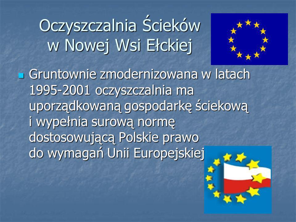 Oczyszczalnia Ścieków w Nowej Wsi Ełckiej Gruntownie zmodernizowana w latach 1995-2001 oczyszczalnia ma uporządkowaną gospodarkę ściekową i wypełnia surową normę dostosowującą Polskie prawo do wymagań Unii Europejskiej.
