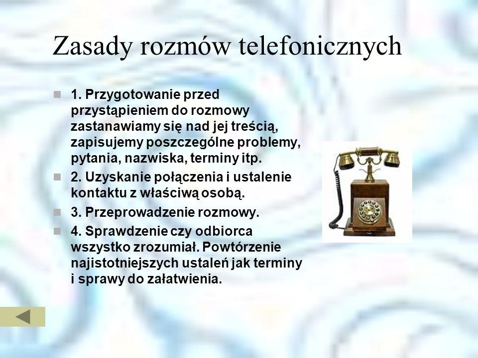 Zasady rozmów telefonicznych 1.