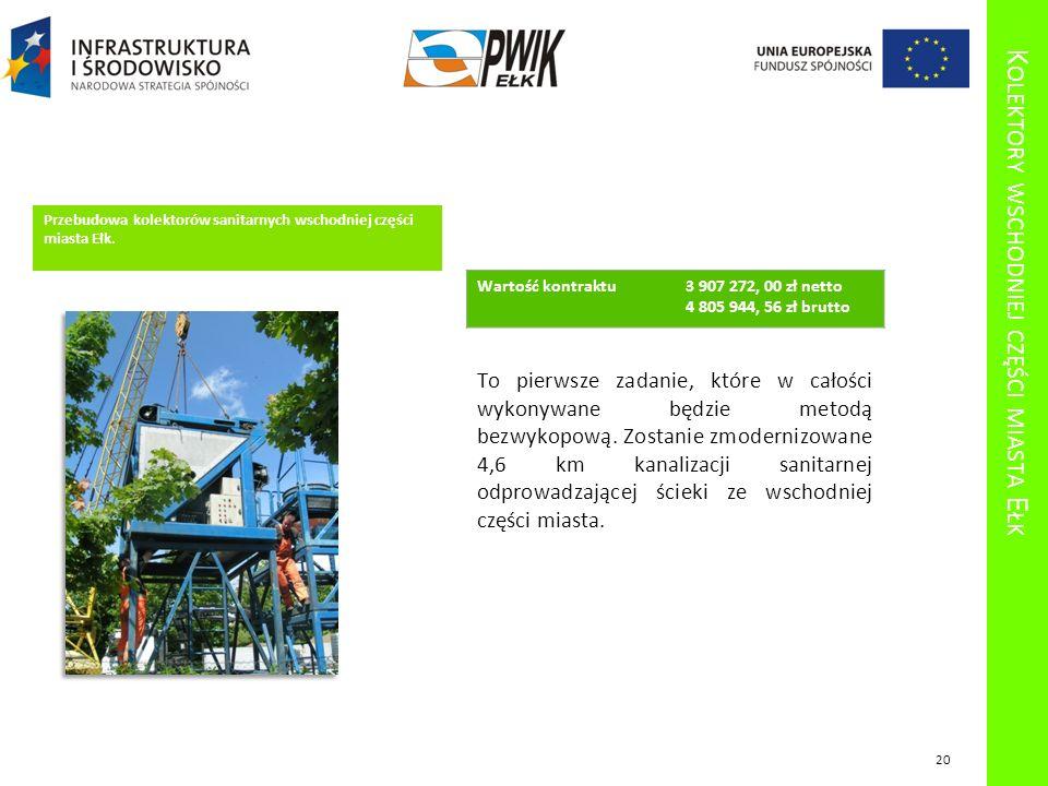 K OLEKTORY WSCHODNIEJ CZĘŚCI MIASTA E ŁK Przebudowa kolektorów sanitarnych wschodniej części miasta Ełk. To pierwsze zadanie, które w całości wykonywa