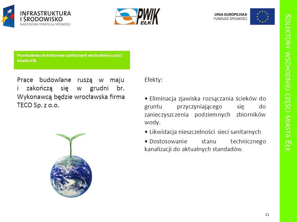 K OLEKTORY WSCHODNIEJ CZĘŚCI MIASTA E ŁK Przebudowa kolektorów sanitarnych wschodniej części miasta Ełk. Prace budowlane ruszą w maju i zakończą się w