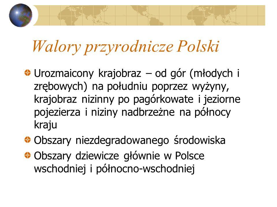 Walory przyrodnicze Polski Urozmaicony krajobraz – od gór (młodych i zrębowych) na południu poprzez wyżyny, krajobraz nizinny po pagórkowate i jeziorn