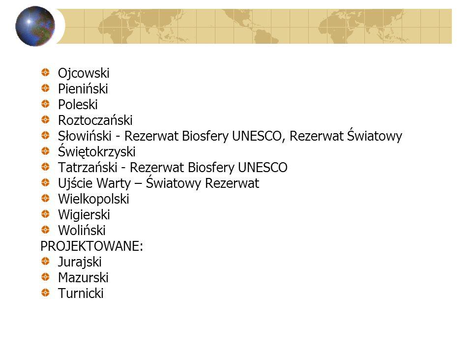 Ojcowski Pieniński Poleski Roztoczański Słowiński - Rezerwat Biosfery UNESCO, Rezerwat Światowy Świętokrzyski Tatrzański - Rezerwat Biosfery UNESCO Uj