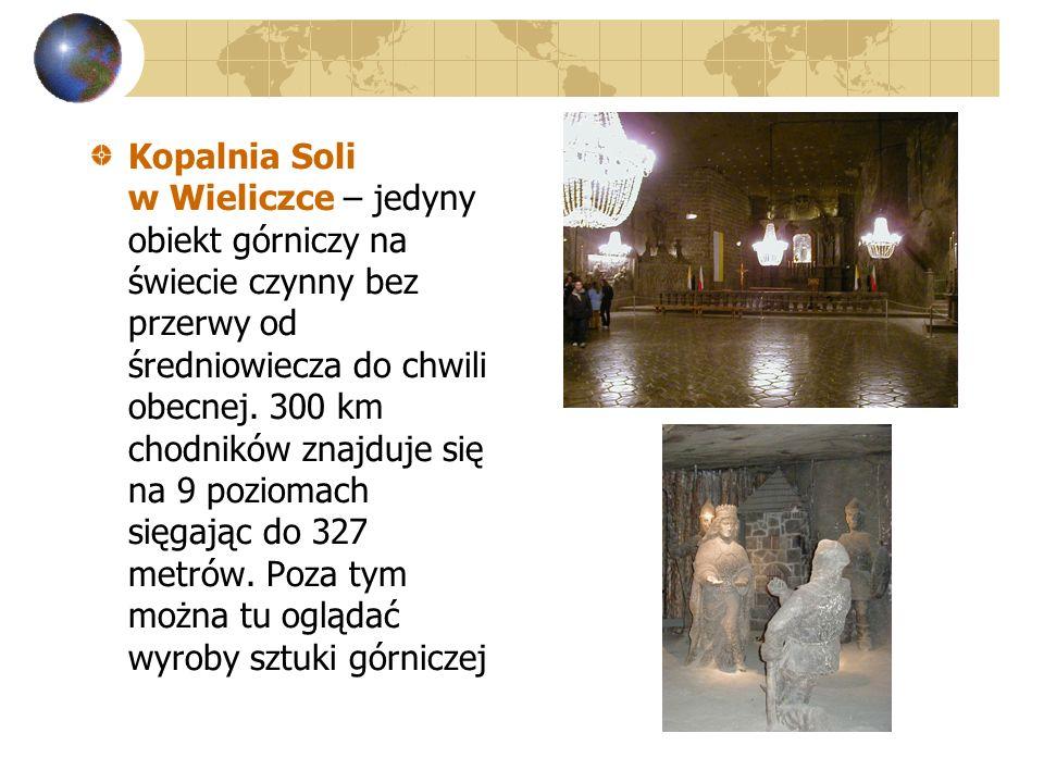 Kopalnia Soli w Wieliczce – jedyny obiekt górniczy na świecie czynny bez przerwy od średniowiecza do chwili obecnej. 300 km chodników znajduje się na