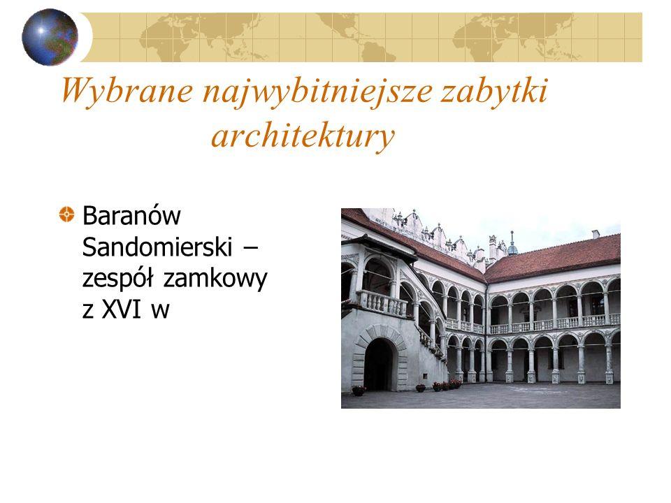 Wybrane najwybitniejsze zabytki architektury Baranów Sandomierski – zespół zamkowy z XVI w