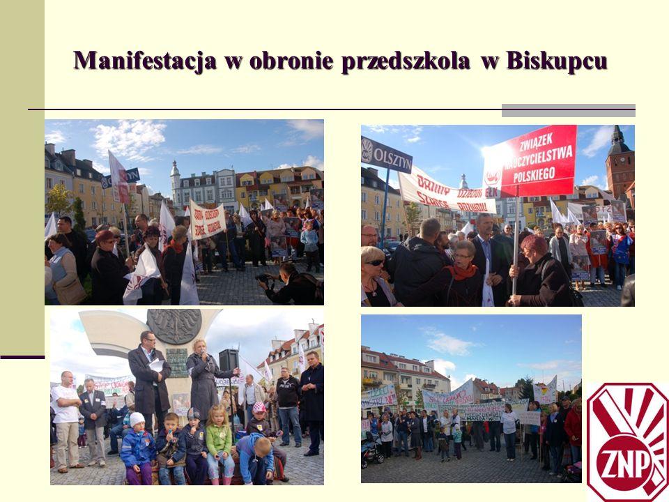 Manifestacja w obronie przedszkola w Biskupcu