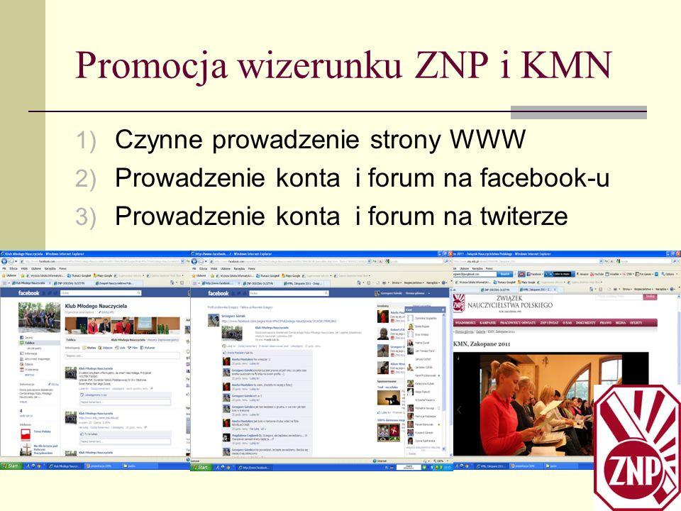 Promocja wizerunku ZNP i KMN 1) Czynne prowadzenie strony WWW 2) Prowadzenie konta i forum na facebook-u 3) Prowadzenie konta i forum na twiterze