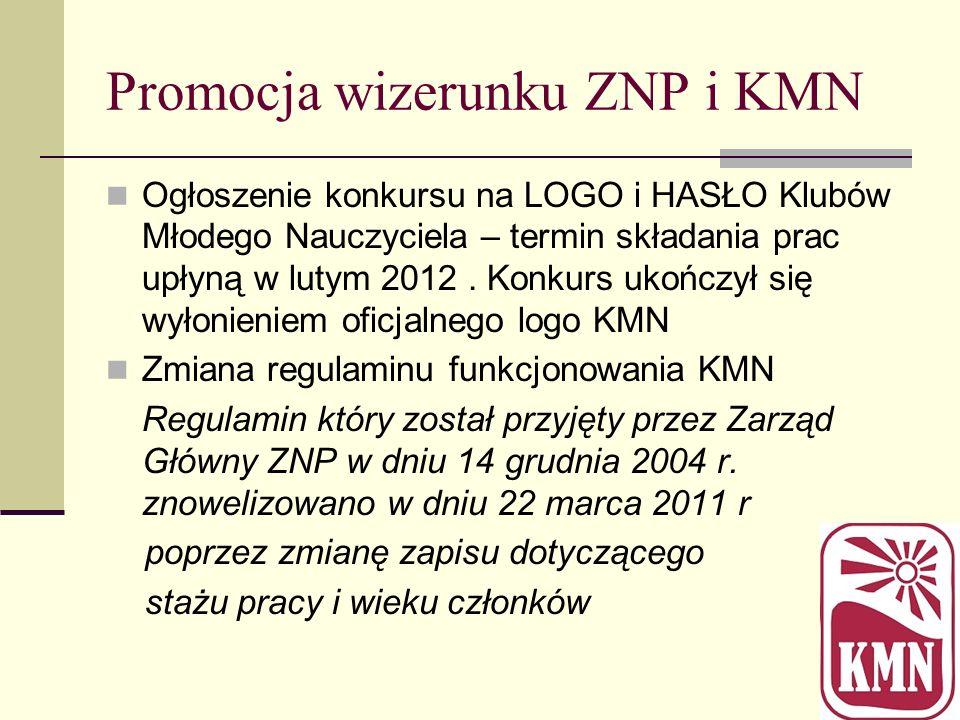 Promocja wizerunku ZNP i KMN Ogłoszenie konkursu na LOGO i HASŁO Klubów Młodego Nauczyciela – termin składania prac upłyną w lutym 2012. Konkurs ukońc