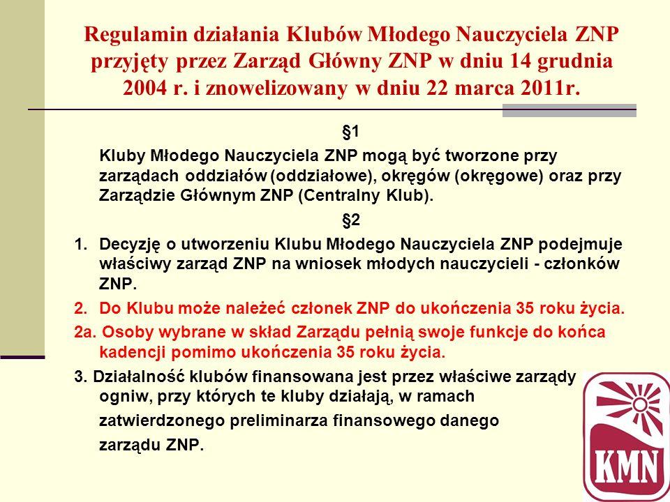 Regulamin działania Klubów Młodego Nauczyciela ZNP przyjęty przez Zarząd Główny ZNP w dniu 14 grudnia 2004 r. i znowelizowany w dniu 22 marca 2011r. §