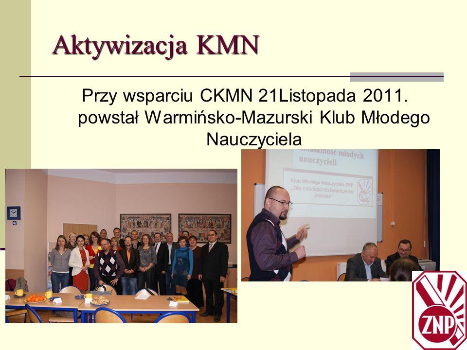 Aktywizacja KMN Przy wsparciu CKMN 21Listopada 2011. powstał Warmińsko-Mazurski Klub Młodego Nauczyciela