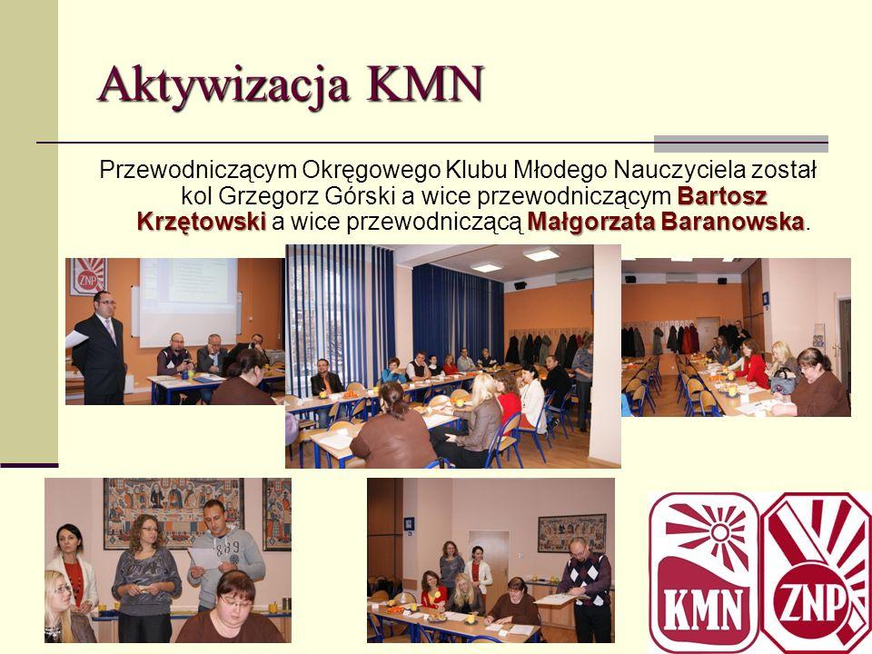 Aktywizacja KMN Bartosz KrzętowskiMałgorzata Baranowska Przewodniczącym Okręgowego Klubu Młodego Nauczyciela został kol Grzegorz Górski a wice przewod