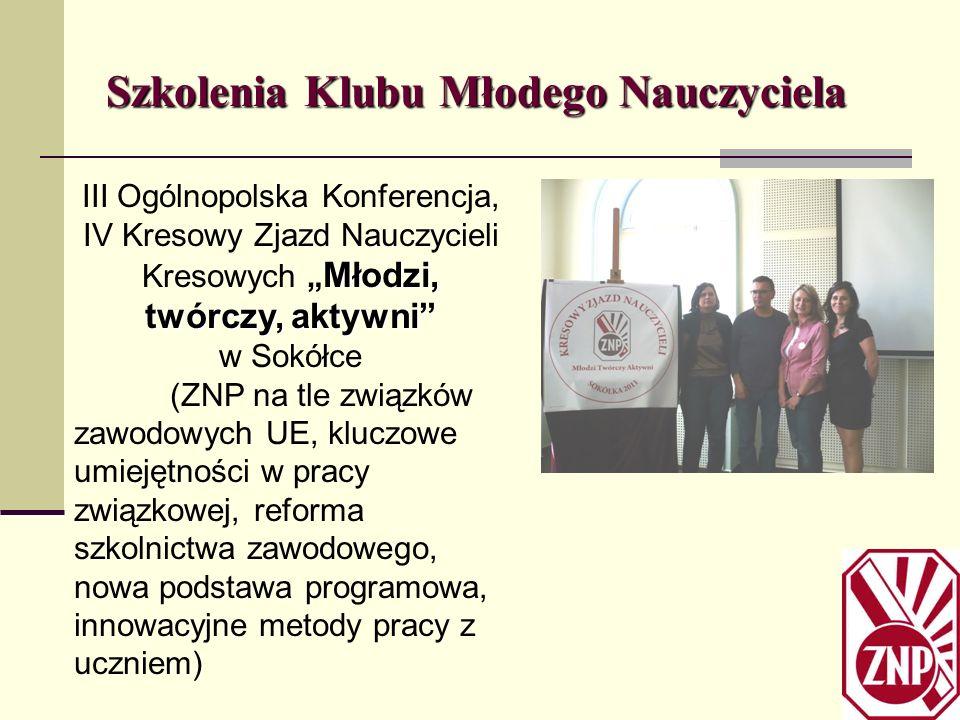 Szkolenia Klubu Młodego Nauczyciela Młodzi, twórczy, aktywni III Ogólnopolska Konferencja, IV Kresowy Zjazd Nauczycieli Kresowych Młodzi, twórczy, akt