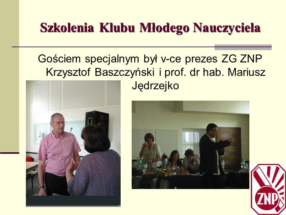 Szkolenia Klubu Młodego Nauczyciela Gościem specjalnym był v-ce prezes ZG ZNP Krzysztof Baszczyński i prof. dr hab. Mariusz Jędrzejko