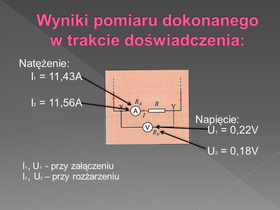 Natężenie: I 1 = 11,43A I 2 = 11,56A Napięcie: U 1 = 0,22V U 2 = 0,18V I 1, U 1 - przy załączeniu I 2, U 2 – przy rozżarzeniu