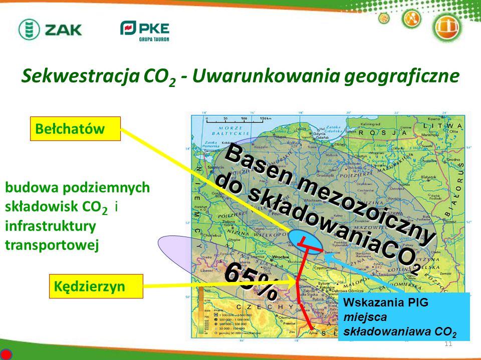 Sekwestracja CO 2 - Uwarunkowania geograficzne 11 Basen mezozoiczny do składowaniaCO 2 65% budowa podziemnych składowisk CO 2 i infrastruktury transpo