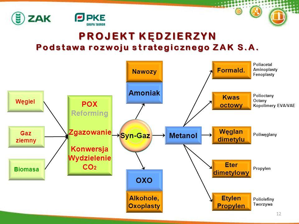 PROJEKT K Ę DZIERZYN Podstawa rozwoju strategicznego ZAK S.A. 12 Gaz ziemny Biomasa Węgiel POX Reforming Konwersja Wydzielenie CO 2 Amoniak Nawozy OXO