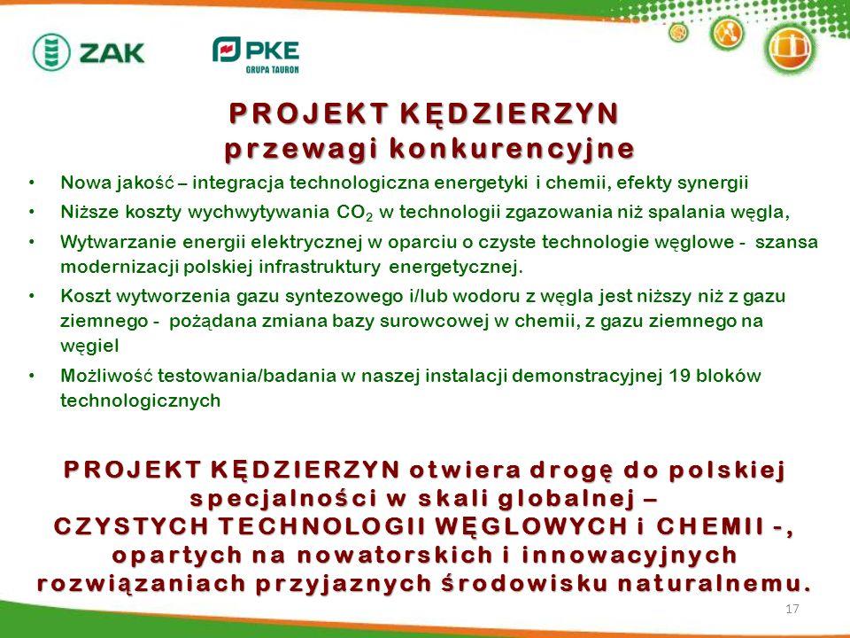PROJEKT K Ę DZIERZYN otwiera drog ę do polskiej specjalno ś ci w skali globalnej – CZYSTYCH TECHNOLOGII W Ę GLOWYCH i CHEMII -, opartych na nowatorski