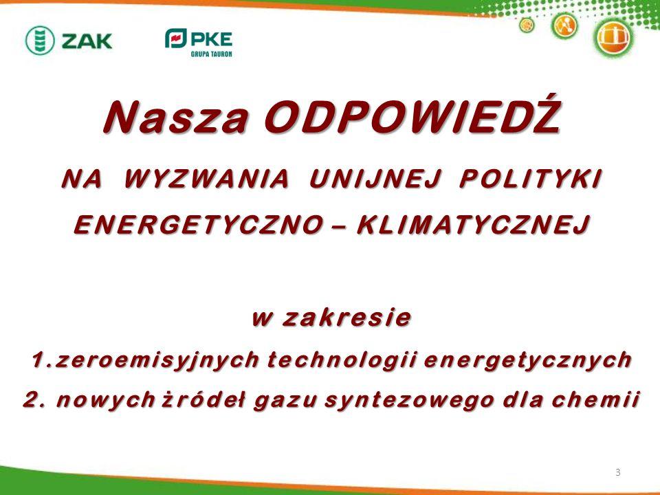 Nasza ODPOWIED Ź NA WYZWANIA UNIJNEJ POLITYKI ENERGETYCZNO – KLIMATYCZNEJ w zakresie 1.zeroemisyjnych technologii energetycznych 2. nowych ż róde ł ga