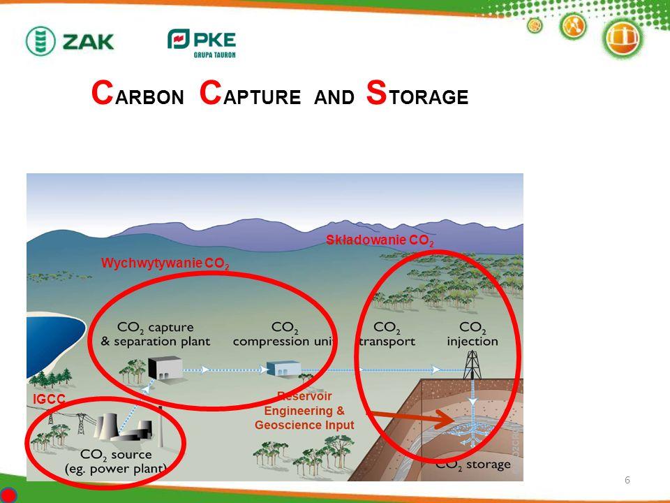6 C ARBON C APTURE AND S TORAGE IGCC Wychwytywanie CO 2 Składowanie CO 2