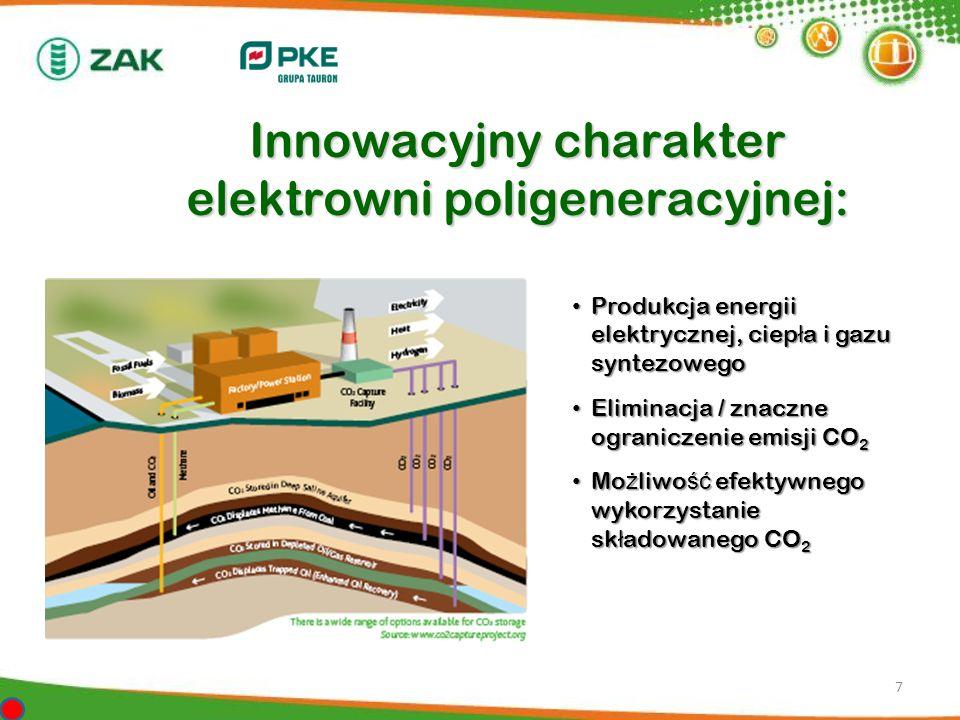 7 Innowacyjny charakter elektrowni poligeneracyjnej: Produkcja energii elektrycznej, ciep ł a i gazu syntezowego Produkcja energii elektrycznej, ciep