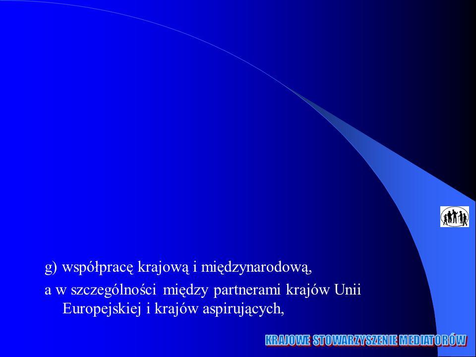 g) współpracę krajową i międzynarodową, a w szczególności między partnerami krajów Unii Europejskiej i krajów aspirujących,