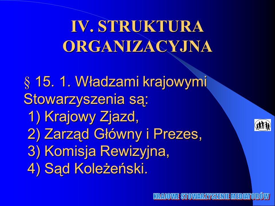 IV. STRUKTURA ORGANIZACYJNA § 15. 1. Władzami krajowymi Stowarzyszenia są: 1) Krajowy Zjazd, 2) Zarząd Główny i Prezes, 3) Komisja Rewizyjna, 4) Sąd K