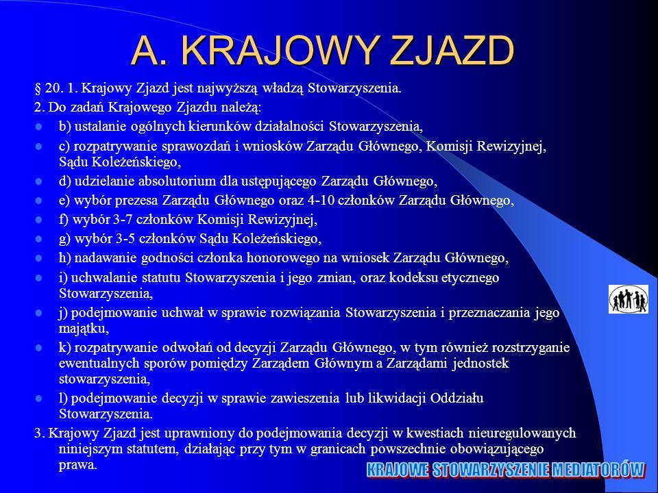 A.KRAJOWY ZJAZD § 20. 1. Krajowy Zjazd jest najwyższą władzą Stowarzyszenia.